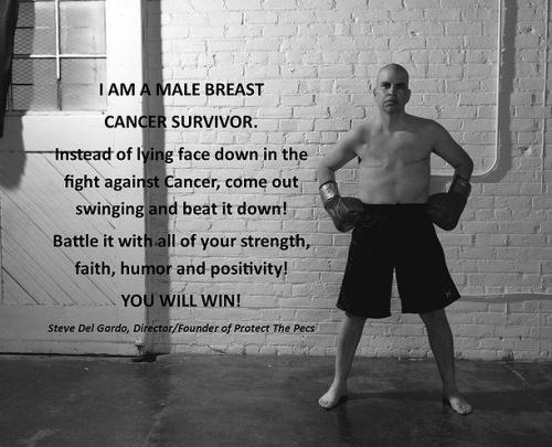 Steve Del Gardo started a male breast cancer awareness foundation called Protect The Pecs.